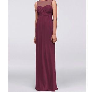 NEW David's Bridal Wine Sweetheart Neckline Dress